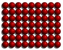 Jaskrawe glansowane plastikowe czerwone pi?ki uk?adali w rz?dy ilustracji