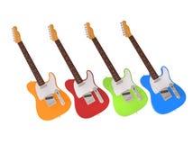 Jaskrawe i szczęśliwe gitary elektryczne Zdjęcia Stock