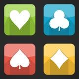Jaskrawe karta do gry kostiumów ikony ustawiać w nowożytnym Obraz Royalty Free