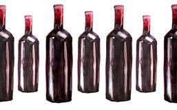 Jaskrawe piękne abstrakcjonistyczne graficzne urocze cudowne śliczne wyśmienicie smakowite yummy lato butelki czerwone wino desen Obraz Royalty Free