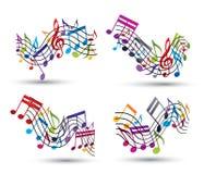 Jaskrawe wektorowe bycze klepki z muzykalnymi notatkami Zdjęcia Royalty Free