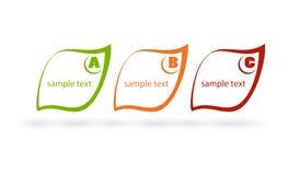 Jaskrawe wektorowe etykietki w postaci liść zieleni, pomarańcze i czerwień kwiatów na pasiastym tle, Zdjęcie Stock