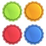 Jaskrawe wektorowe ikony pomarańcze, błękit, czerwień i zieleń z pomocą, Fotografia Stock