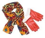 Jaskrawe wzorzyste szalika i pomarańcze rękawiczki Fotografia Stock