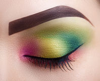 Jaskrawego fachowego makeup żeński oko Zakończenie Perfect makijaż Zdjęcie Royalty Free