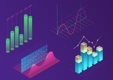 Jaskrawego nowożytnego gradientowego koloru infographic wektorowi elementy 3d isometric projekt dla promoci, prezentacja, sprzeda royalty ilustracja