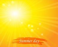Jaskrawego słonecznego dnia zmierzchu nieba pomarańczowy tło dla ilustracja wektor