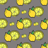 Jaskrawej żółtej świeżej cytryny bezszwowy wzór Zdjęcia Stock