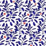 Jaskrawej błękitnej mędrzec gałęziastych i czerwonych jagod powierzchni bezszwowy wzór odizolowywający na białym tle Botaniczny n royalty ilustracja