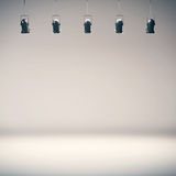 Jaskrawej fotografii pracowniany tło z światłami reflektorów Obrazy Stock