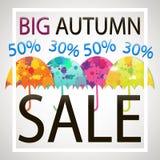 Jaskrawej jesieni sprzedaży wektorowy sztandar z parasolami Zdjęcia Royalty Free