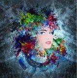 Jaskrawej kolor kobiety twarz Zdjęcia Royalty Free