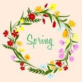Jaskrawej kolorowej wiosny kwiecista granica ilustracja wektor