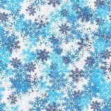 Jaskrawej zimy bezszwowy wzór z płatkami śniegu abstrakcjonistyczni Świąt tło Zdjęcia Royalty Free