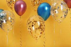Jaskrawi balony z faborkami obrazy stock