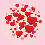 Jaskrawi czerwoni miłość serca Obrazy Royalty Free