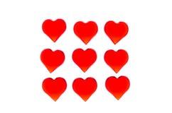 Jaskrawi czerwoni serca 9 kawałków w postaci kwadrata Po to, aby używać walentynki ` s dzień, śluby, Międzynarodowy kobiety ` s d Obraz Stock