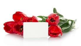 Jaskrawi czerwoni tulipany i opróżniają kartę dla listu fotografia royalty free