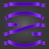 Jaskrawi faborki, purpurowi sztandary ustawiający dla twój i Zdjęcie Stock