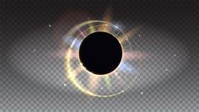 Jaskrawi i barwioni lekcy promienie i obiektywu racy tło Słoneczny zaćmienie, astronomiczny zjawisko - folujący słońca zaćmienie  ilustracji