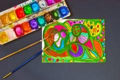 Jaskrawi intuicyjnie obraz, akwarela, paleta i paintbrush, Ręka rysująca bezpłatna abstrakcjonistyczna pierwotna ilustracja h i m Obraz Royalty Free