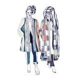 jaskrawi kolor mody modele biali nakreślenie Handdrawn mody ilustracja zdjęcie stock