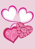 Jaskrawi różowi serca walentynka dzień 2007 pozdrowienia karty szczęśliwych nowego roku Zdjęcie Royalty Free
