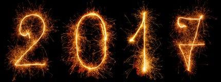 Jaskrawi szyldowi sparklers 2017 odizolowywający na czerni Zdjęcie Royalty Free