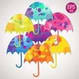 Jaskrawi wektorowi parasole ustawiający Obrazy Stock