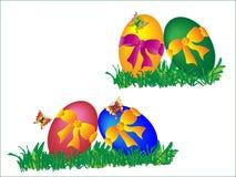 Jaskrawi Wielkanocni jajka z barwionymi łękami i motylami Obrazy Stock