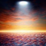Jaskrawy światło reflektorów od above Zdjęcie Stock