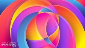 Jaskrawy abstrakcjonistyczny geometryczny tło wektor Kolorowi kolory tęcza Zniekształcający przecinający faliste linie 3D skutek, ilustracji