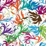 Jaskrawy abstrakcjonistyczny tło, orientalny ornament Kwieciści kolorowi druk ręki rysujący elementy na bielu ilustracja wektor