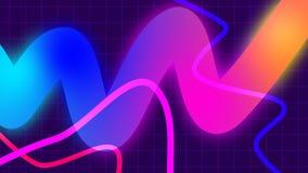 Jaskrawy abstrakcjonistyczny tło z modnymi geometrycznymi neonowymi kolorów elementami Zapętlająca ruch grafika ilustracja wektor