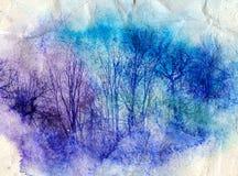 Jaskrawy akwarela krajobraz z drzewami Zdjęcia Stock