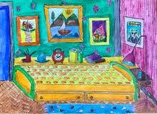 Jaskrawy akwarela rysunek dziecko pok ilustracji