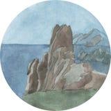 Jaskrawy akwareli lata krajobraz z morzem i górami Fotografia Royalty Free