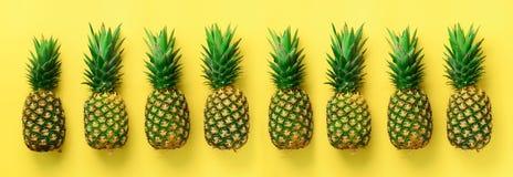 Jaskrawy ananasa wzór dla minimalnego stylu Odgórny widok Wystrzał sztuki projekt, kreatywnie pojęcie kosmos kopii sztandar śwież obraz stock