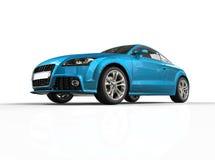 Jaskrawy Błękitny Biznesowy samochód Na Białym tle Obrazy Royalty Free