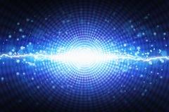 Jaskrawy błysk błękita światło na promieniowym tle, jaskrawy lightnin ilustracji