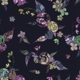 Jaskrawy barwiący wzór kwiaty, liście, skorupy na dar ilustracja wektor