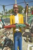 Jaskrawy barwić drewniane Kolonialne lale w Kapsztad, Południowa Afryka Obraz Stock