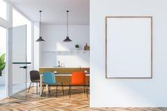 Jaskrawy barwiony kuchenny wnętrze z plakatem ilustracja wektor