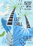 Jaskrawy barwiony zaproszenia, plakata lub ulotki szablon dekorujący z egzotycznymi drzewkami palmowymi, liście tropikalne roślin ilustracji