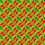Jaskrawy bezszwowy kwiecisty wzór z czerwieni i zieleni elementami Fotografia Royalty Free