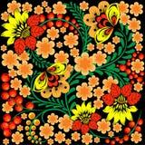 Jaskrawy bezszwowy wzór w rosjanina Khokhloma stylu royalty ilustracja