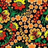 Jaskrawy bezszwowy wzór w rosjanina Khokhloma stylu ilustracji