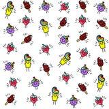 Jaskrawy bezszwowy wzór z śmiesznymi charakterami babeczka, lody, truskawki i deser w stylu kawaii, ilustracji