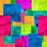 Jaskrawy bezszwowy wzór z geometrycznym ornamentem ilustracji