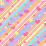 Jaskrawy bezszwowy wzór z kolorowymi lampasami, gwiazdami i sercami dla dziewczyn, ilustracji